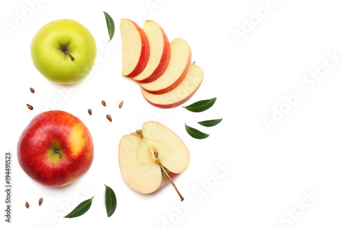 Fototapeta green and red apples with slices isolated on white background. top view obraz