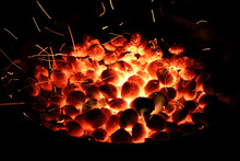 Grill With Sparks And Briquettes