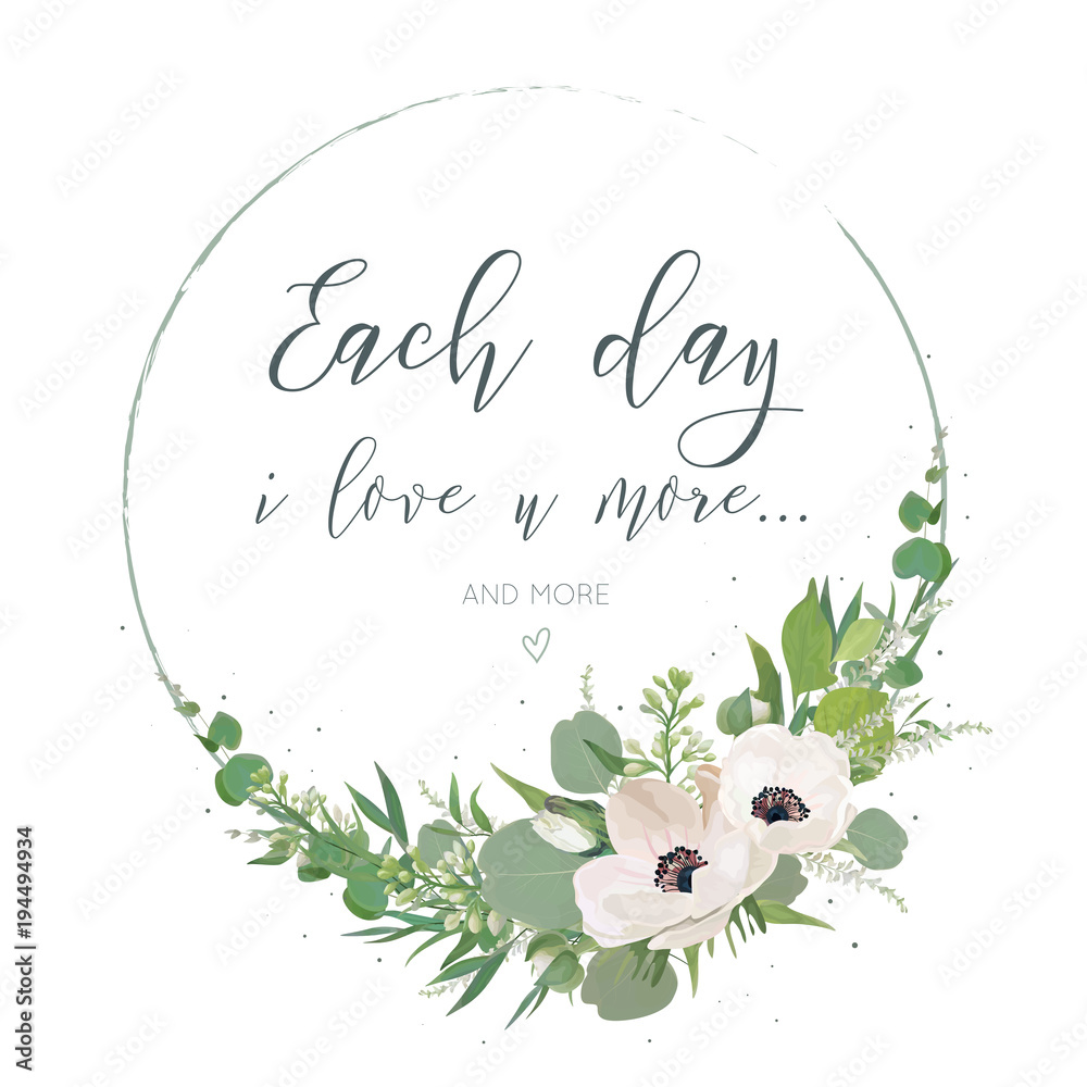 Fototapeta Vector, Floral card design with elegant bouquet wreath with pink anemone flowers, cute white lilac buds, astilbe, forest greenery, delicate herbs, leaves, eucalyptus branches. Wedding invite, greeting
