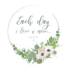 Vector, Floral Card Design With Elegant Bouquet Wreath With Pink Anemone Flowers, Cute White Lilac Buds, Astilbe, Forest Greenery, Delicate Herbs, Leaves, Eucalyptus Branches. Wedding Invite, Greeting