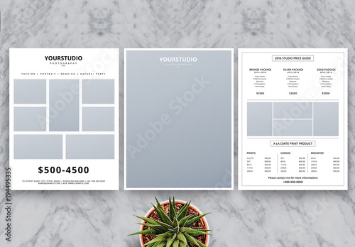 photography business price list flyer layout buy this stock