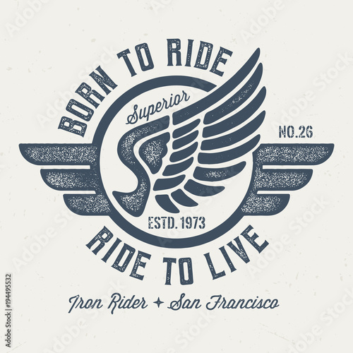 Born To Ride & Ride To Live - Vintage Tee Design For Print Canvas Print