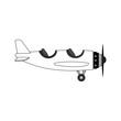 Vintage airplane cartoon vector illustration graphic design