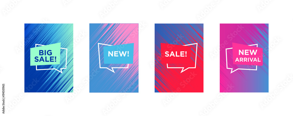 Fototapety, obrazy: Sale web banners template for special offers advertisement. Liquid colors within different forms. New arrivals concept for internet stores promo. New arrivals web banners.