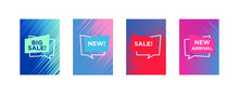Sale Web Banners Template For Special Offers Advertisement. Liquid Colors Within Different Forms. New Arrivals Concept For Internet Stores Promo. New Arrivals Web Banners.