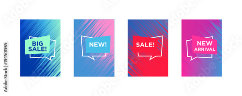 Fototapeta Sale web banners template for special offers advertisement. Liquid colors within different forms. New arrivals concept for internet stores promo. New arrivals web banners.  obraz