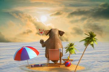3D ilustracja słoń siedzi na plaży przegapia kurort i morze