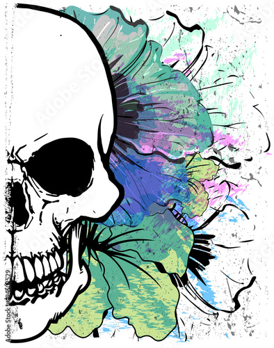 Foto auf AluDibond Aquarell Schädel Skull Watercolor T shirt Graphic Design