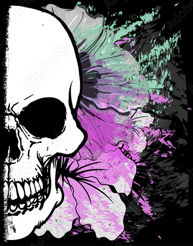 Photo sur Toile Crâne aquarelle Skull Watercolor T shirt Graphic Design