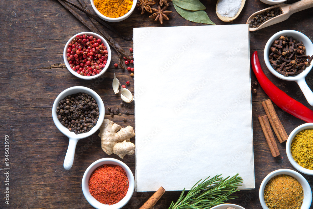 Fototapety, obrazy: Open recipe book with fresh herbs and spices