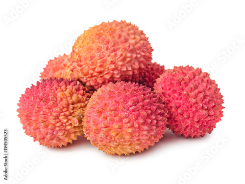 Pile of lychees fruits isolated