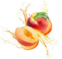 Peaches In Juice Splash Isolat...