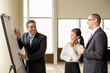 Business Team Laughing at Flipchart during Meeting