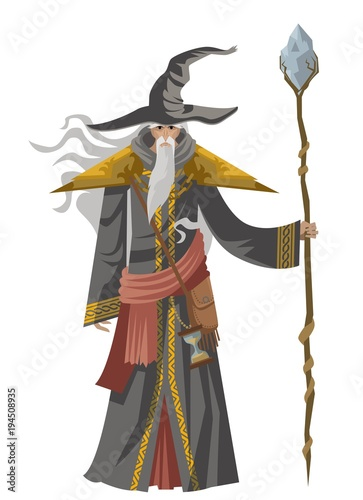 Photo old wise magician with staff