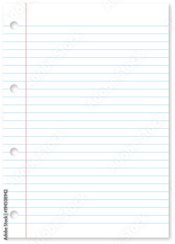 blank white paper sheet background with blue lines margin and holes