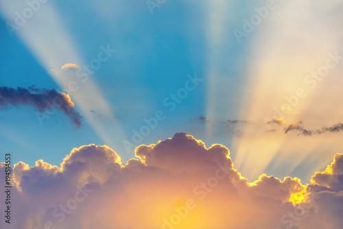 Obraz Blue sky with clouds and sun - fototapety do salonu
