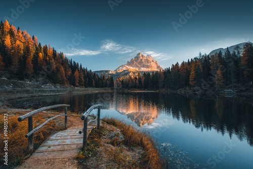 Poster Blauwe jeans Morning view of Lago Antorno, Dolomites, Lake mountain landscape with Alps peak , Misurina, Cortina d'Ampezzo, Italy