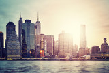 Fototapeta Nowy Jork - Manhattan skyline at sunset, color toned picture, New York City, USA.