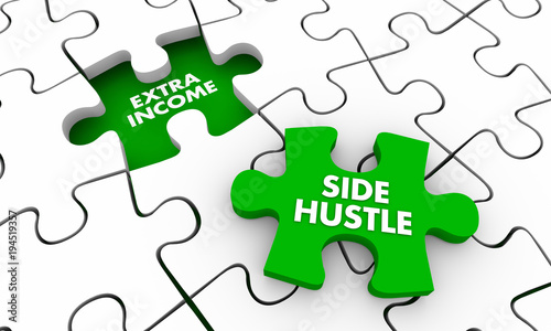 Valokuva  Side Hustle Extra Additional Income Puzzle Piece 3d Illustration
