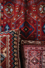 Handmade Red Rug And Pillows  With Pattern Details
