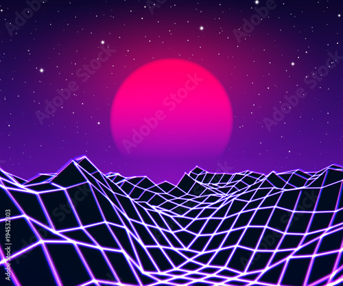 Spoed Foto op Canvas Violet Neon grid landscape and sun with 80s game style