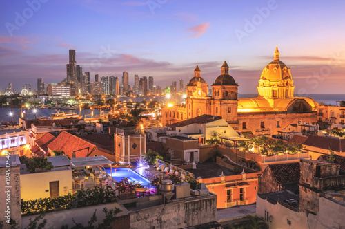 Recess Fitting South America Country Night View of Cartagena de Indias, Colombia
