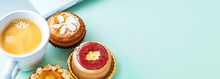 Handcrafted Gourmet Fruit Tarts And Pastries With Coffee