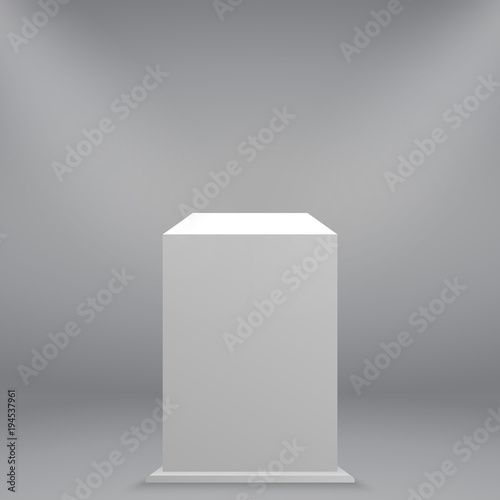 White empty museum pedestal or podium Wallpaper Mural
