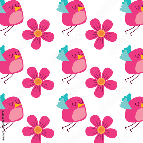 Cotton fabric cute flying bird and flowers decoration pattern vector illustration