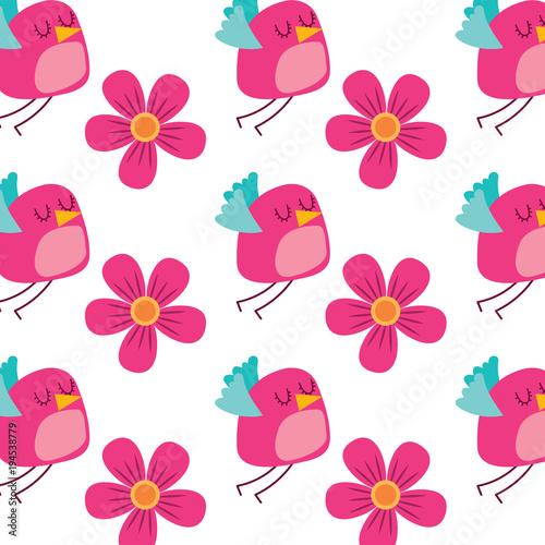 Materiał do szycia ilustracja wektorowa ładny ptak latający i kwiaty ozdoba