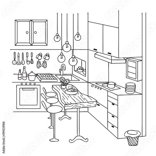 Hand Drawn Of Cute Interior Kitchen For Design Element And Coloring Book Page Vector Illustration Stock Vector Adobe Stock