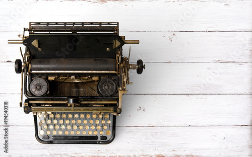Garden Poster Retro Vintage typewriter header. retro machine technology - top view and creative flat lay design.