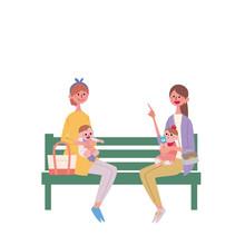 ベンチに座る 親子 イラスト