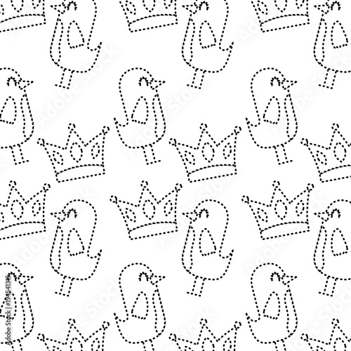 Cotton fabric cartoon beauty bird and crown ornament pattern vector illustration dotted line
