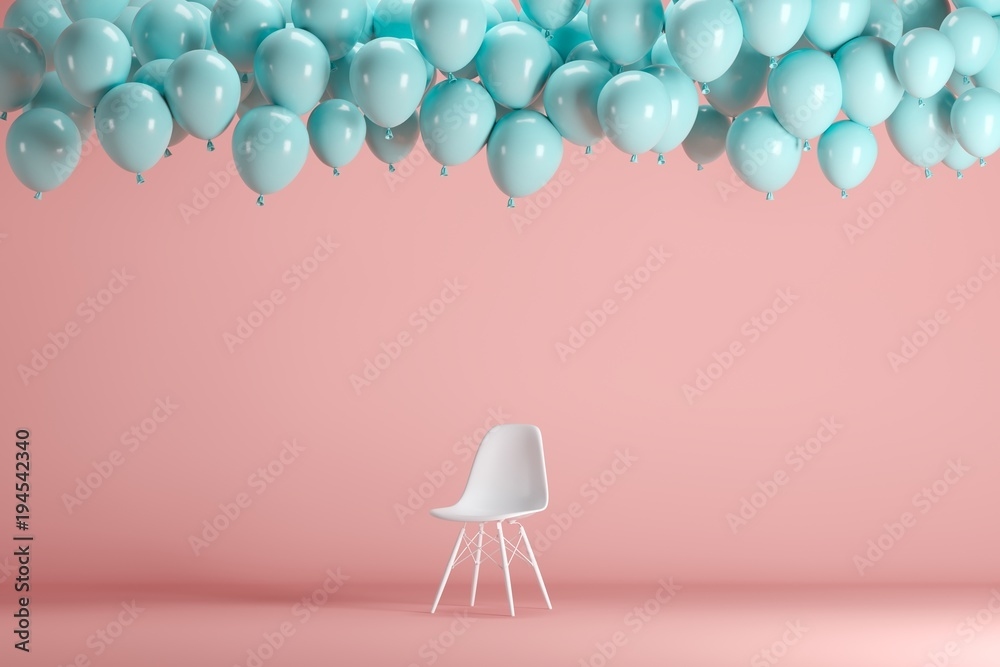 Fototapeta White chair with floating blue balloons in pink pastel background room studio. minimal idea creative concept.