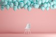 canvas print picture - White chair with floating blue balloons in pink pastel background room studio. minimal idea creative concept.