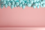 Blue balloons floating in pink pastel background room studio. minimal idea creative concept. - 194542339