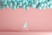 White Chair With Floating Blue Balloons In Pink Pastel Background Room Studio. Minimal Idea Creative Concept.