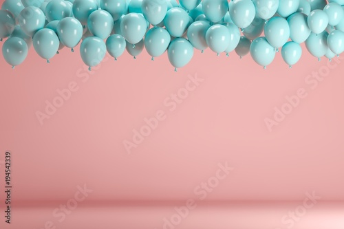 Photo  Blue balloons floating in pink pastel background room studio