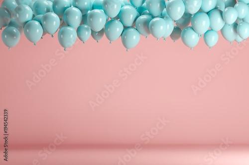 Fotografie, Obraz  Blue balloons floating in pink pastel background room studio