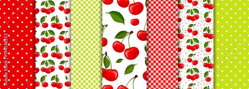 fototapeta na ścianę Cherry berry and spring geometric seamless patterns set vector