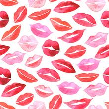 Watercolor Lips Seamless Pattern.