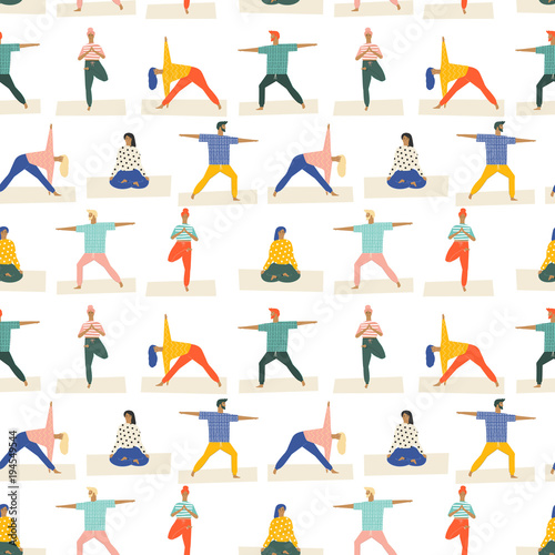 Fotografie, Obraz  Healthy lifestyle yoga vector illustration