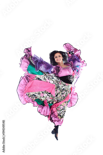 Keuken foto achterwand Art Studio beautiful women-Gypsy girl performs the national dance.