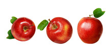 Set Of Red Apples With Green L...