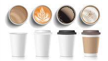 Coffee Cups Top View Vector. P...