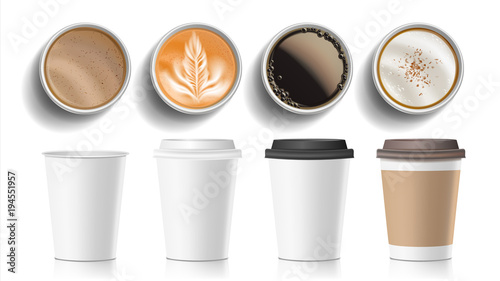 Plakaty do kawiarni coffee-cups-top-view-vector-plastic-paper-white-empty-fast-food-take-out-coffee-menu-mugs-various-ocher-paper-cups-breakfast-beverage-realistic-isolated-illustration