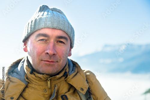 portrait of serious cragsman man in mountains Tableau sur Toile
