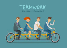 Teamwork, Business Concept. Business People Or Students Riding Tandem Bike. Cartoon Vector Illustration