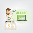 Business man hold money bag to investment, financial savingslong-term deposit investment . illustration concept.with word LTF , RMF.